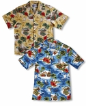 Red Hibiscus Island Men's Shirt