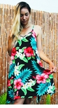 Red Hibiscus White Plumeria V-Neck Scarf Hem Dress