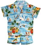 Red, Yellow Hibiscus Hawaiian Islands boys cabana set