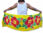 Four Hibiscus Hand Painted Half Size Sarong