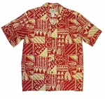 Rock Wall men's two palms cotton aloha shirt