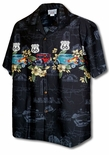 Rt 66 Flaming Roadsters Plumeria Men's Shirt