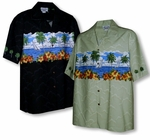 Hibiscus Sailboats Men's Chest Band Shirt