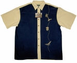 Sailing Island Men's Embroidered Rayon Polyester Shirt