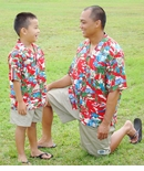 Santa More Beach Fun Boy's Hawaiian Cotton Blend Shirt