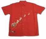CLOSEOUT Flying Santa Sleigh Reindeer Embroidered Shirt