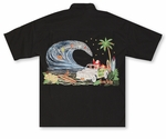 Santa's Woody Island Men's Embroidered Shirt