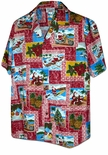 Santa Yesterday & Today Men's Cotton Aloha Christmas Shirt