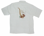 Sax (Saxophone) On The Beach Men's Luau Embroidered Shirt