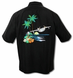 South Pacific Sea Plane Embroidered Aloha Shirt - Sold Out