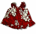 Shadow White Hibiscus girl's puff sleeve 2pc set