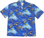 Snorkel Dream Coral Reef Men's Vintage Cotton Aloha Shirt