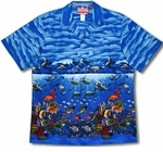 Snorkelers Underwater Circus Delight men's cotton aloha shirt