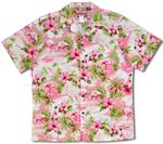 Soft Pink Flamingos men's cotton aloha shirt