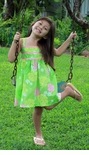 Spring Pastel Girl's Empire Ribbon Dress