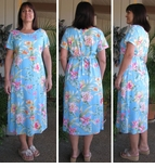 Summer Flourish 4X & regular sizes Round Neck Long Dress