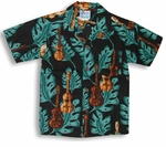 Ukulele Monstera Boy's Hawaiian Aloha Cotton Shirt