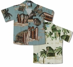 Surfboard Beach Shack Boys Hawaiian 100% Rayon Shirt