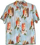 Surfboard White Hibiscus men's rayon aloha shirt