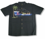 Surfing Santa Dropping In Embroidered Shirt