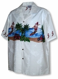 Surfing Santa with Parrot Men's Shirt