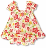 Swirly Hibiscus Girls Puff Sleeves