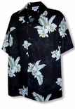 Flying White Orchid Vintage Cotton Aloha Shirt