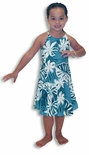 Tiare Monstera Girl's Drop Waist Halter Dress