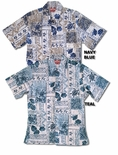 Traditional Hawaiian Symbols men's cotton aloha shirt
