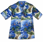 Boys Hawaiian Shirt Tropical Fish Island Surf