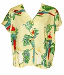 Tropical Parrots Paradise Found 100% Rayon Blouse
