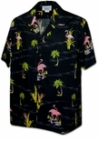 Tropical Pink Flamingos  cotton aloha shirt