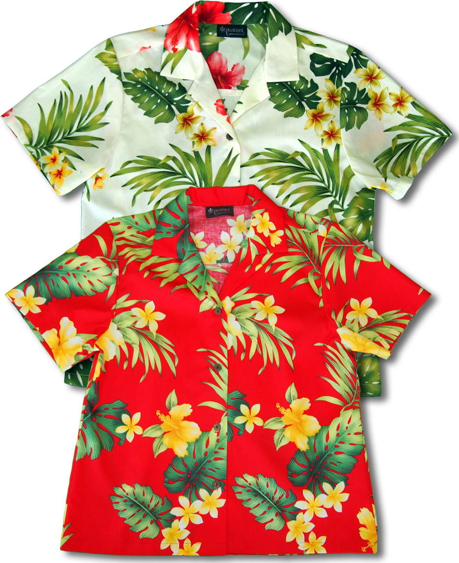 4f790f19 Tropical Summer Hibiscus Women's cotton aloha shirt