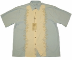 Tropical Trees Men's Embroidered Rayon Polyester Shirt