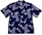 Ukulele men's cotton aloha shirt made in hawaii