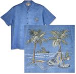 Ukulele Palm Men's Embroidered Rayon Shirt