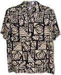 Up the Down Staircase men's Aloha style tropical print shirt