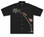 Up, Up and Away Flying Santa Men's Embroidered Shirt