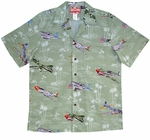 USA Airplanes mens mad in Hawaii cotton aloha shirt