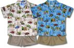 Long Board Surfers Woodie Boys Cotton Cabana Set