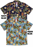 Plumeria Ukulele Surfboard men's traditional style aloha shirt
