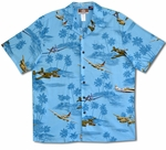War Planes Over Hawaiian Islands men's aloha shirt