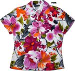 Watercolor Garden fitted Hawaiian Blouse