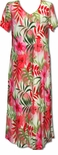 Watercolor Tropics v-neck plus size evening dress