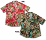 Watercolor Tropics Womens Long Camp Shirt