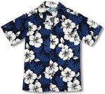White Hibiscus Fern Boy's Cotton Hawaiian Shirt
