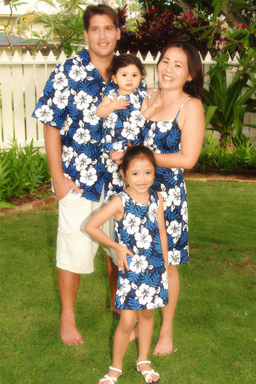 white hibiscus fern matching tropical print family clothes