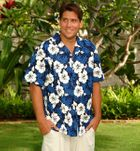 White Hibiscus Fern Men's Shirt