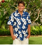 White Hibiscus Fern Men's made in Hawaii cotton Shirt