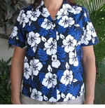 White Hibiscus Fern Women's camp shirt